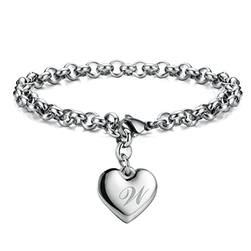 Heart Charm Bracelet Jewelry - Monily Initial Charm Bracelets Stainless Steel Heart Letters W Alphabet Bracelet for Women