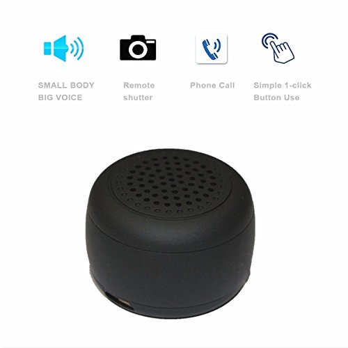 World's Smallest Mini Wireless Bluetooth Speaker -Photo Selfie Button Answer Phone Calls-30+ Feet Range (Black)