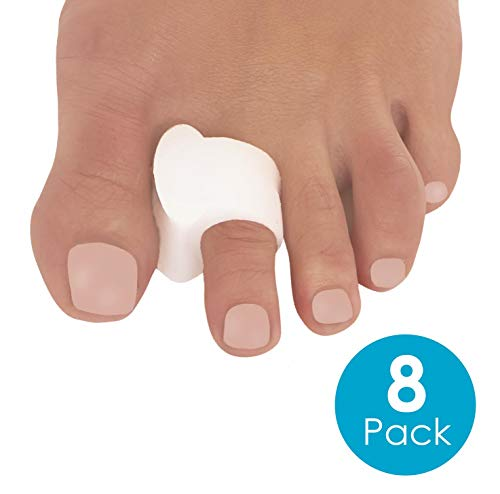 Toe Separators for Bunions - 8 Pack Big Toe Spacers, Hammer Toe Straightener, Correct Crooked Toes - Bunion Corrector and Bunion Relief, Pads for Overlapping, Hallux Valgus, Diabetic Feet, Yoga