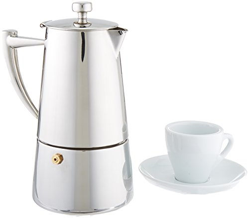 Cuisinox SET-6R66 Set of 6 Espresso Cups and Roma 6-Cup Espresso Coffeemaker, Silver by Cuisinox