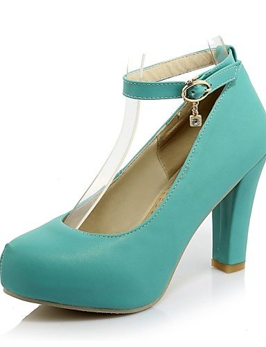 GGX/ Zapatos de mujer-Tacón Robusto-Tacones / Punta Redonda-Tacones-Oficina y Trabajo / Casual-PU-Negro / Azul / Rosa / Almendra , almond-us6.5-7 / eu37 / uk4.5-5 / cn37 , almond-us6.5-7 / eu37 / uk4. blue-us9 / eu40 / uk7 / cn41