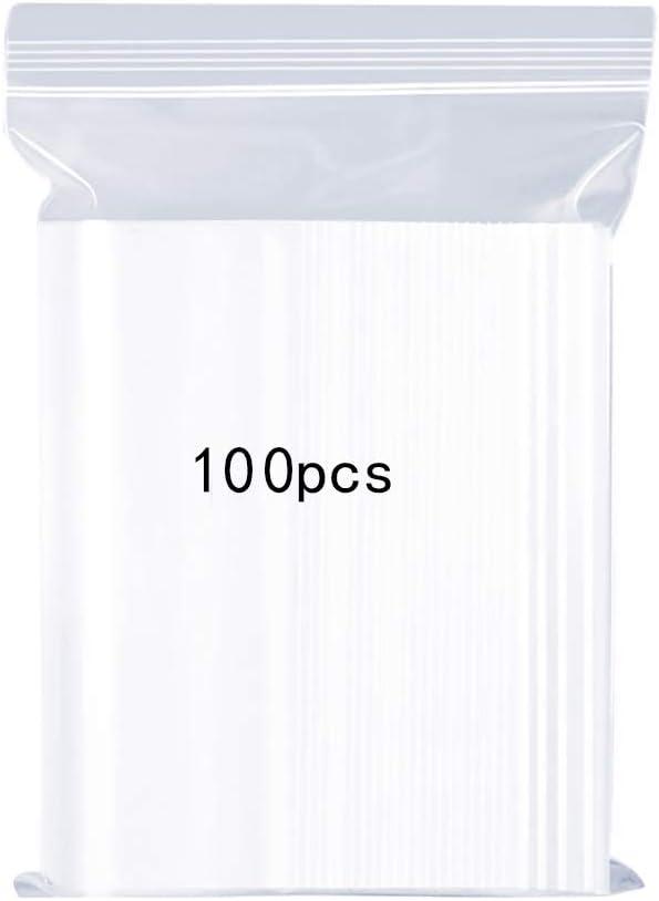 Bolsas de plástico transparentes que se pueden volver a sellar, bolsa de cierre de cremallera reutilizable fuerte, engrosamiento y duradero, prensa para cerrar,17x25cm Bolsa compras 100 pcs