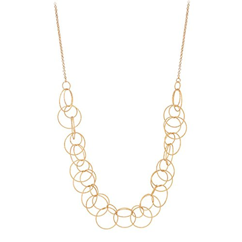 s Women's Diamond Cut Textured Circle Statement Necklace (Gold) ()