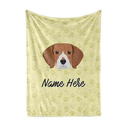 Personalized Custom Pet Beagle Fleece and Sherpa Throw Blanket for Men, Women, Kids, Babies - Matching Pet Blankets Perfect for Bedtime, Bedding or as Gift