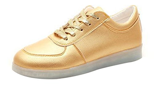 Caihee Women Led Light Colorful Sneakers Usb Charging Leisure Shoes  10 5 B M Us  Gold