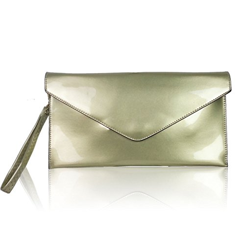 Purse Ladies Evening Clutch Style Bag Gold Patent Faux Green Leather Wedding New Envelope xYwFvqdY6