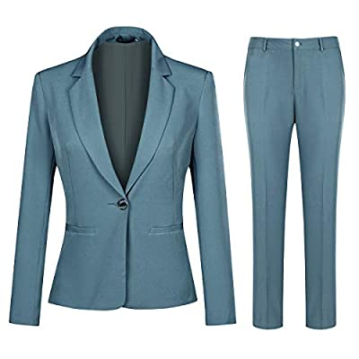 Women's 2 Piece Office Work Suit Set One Button Blazer and Pants: Clothing