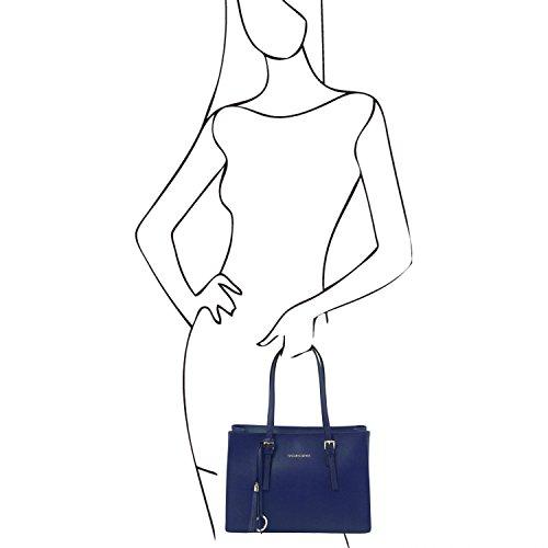 Saffiano Cognac leather Leather Blue Dark handbag Tuscany TLBag wXqEtwR