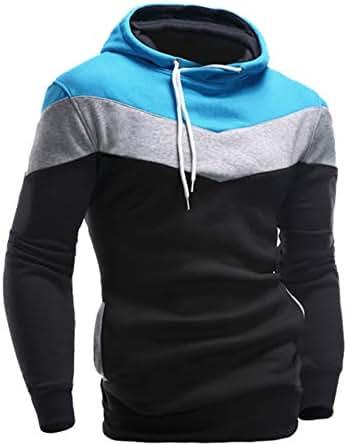 Men Fashion Hoodies Color Block Pullover Sweatshirt Retro Long Sleeve Hooded Tops Jacket Coat Outwear Pocket