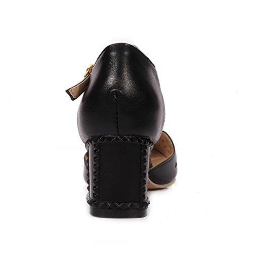 VogueZone009 Women's Kitten Heels Solid Buckle Closed-Toe Sandals Black BVV0S