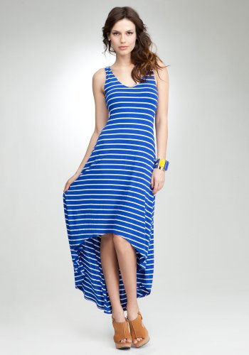 bebe Striped Hi Low Maxi Dress