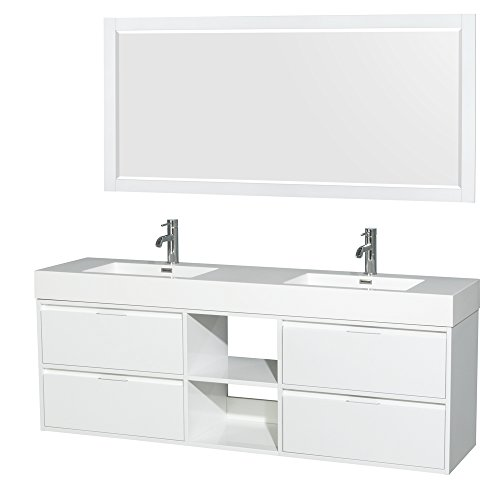 (Wyndham Collection Daniella 72 inch Double Bathroom Vanity in Glossy White, Acrylic Resin Countertop, Integrated Sinks, and 70 inch)