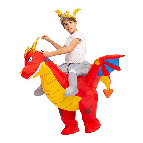 Kids On Halloween Costumes (Spooktacular Creations Inflatable Costume Riding a Fire Dragon Air Blow-up Deluxe Halloween Costume - Child (7-10 Yrs))