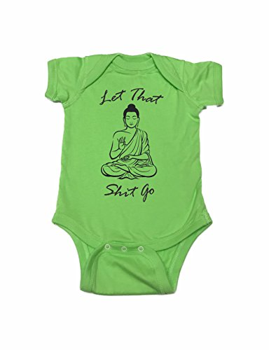 Buddha Infant Bodysuit (Yoga Chakra Buddhism Let That Shit Go Funny Baby bodysuit, creeper, Humorous Baby Showers Gifts, Romper (Lime, 3 month))