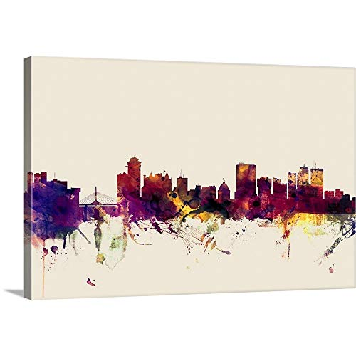 Gallery-Wrapped Canvas Entitled Winnipeg Canada Skyline on Beige by Michael Tompsett 60