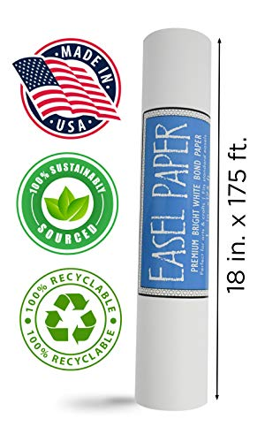 (White Art Easel Paper Roll (18 Inch by 175 Feet) - 100% Recyclable Non-Yellowing Arts and Crafts Bond Paper for Paper Tablecloths, Bulletin Board Backing and Wall-Mount Note Stations)