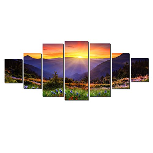 Startonight Glow in the Dark, Huge Canvas Wall Art Sunrise Behind The Mountains, Home Decor, Dual View Surprise Artwork Modern Framed Wall Art Set of 7 Panels Total 39.37 x 94.49 inch