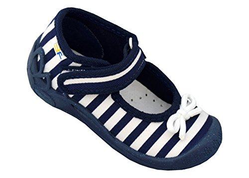 3f freedom for feet Mädchen Babyschuhe mit Klettverschluss | Atmungsaktiv | Süß 4 Farben Neugeborene Hausschuhe mit Echtes Leder Einlegesohlen | Größe 19 bis 25 Blau Streifen 1F2/10