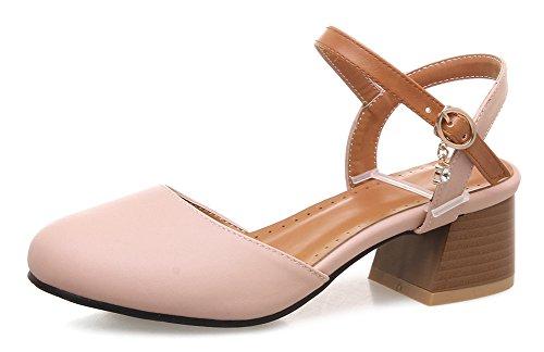 Aisun Donna Unico Elegante Con Fibbia Blocco Tacco Medio Dorsay Sandali Con Punta Chiusa Con Cinturino Alla Caviglia Rosa