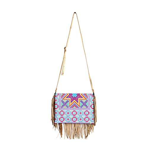 Cross Cross Boho Clutch Fringe Body and Women Embroidered Leather ETHNIC Chic Gold Purse LANNA Stitch qnI0wOBxPR