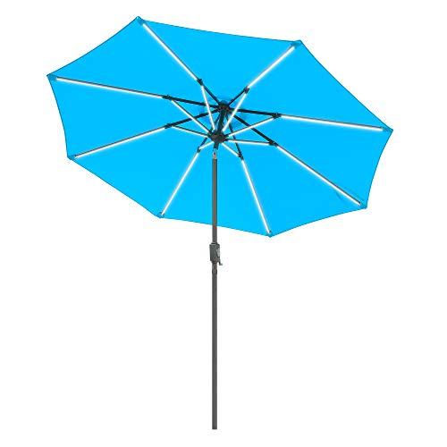 Aok Garden 9 Ft LED Light Bars Patio Outdoor Umbrella Solar Power Market Table Fade-Resistant Umbrella with Push Button Tilt & Crank and 8 Sturdy Ribs (Coffee Crank, Lake Blue)