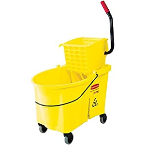 Rubbermaid Commercial Products FG618688YEL WaveBrake Mopping System Bucket and Side-Press Wringer Combo, 44 quart, Yellow
