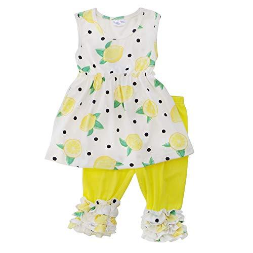 - So Sydney Girls Toddler 2-4 Pc Novelty Spring Summer Top Capri Set Accessories (S (3T), Lemon Drop Ruffle Capri)