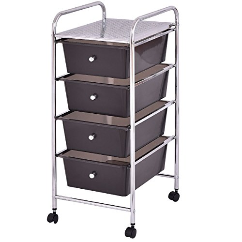 Dayanaprincess 4 Drawers Metal Rolling Storage Cart Plastic Boxes Adjustable Shelves Bookcase Modern Design Useful Decor with Wheels Scrapbook Paper Trolley Unit Home Office School Colorful Box