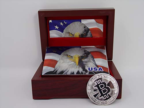 Box w/Silver Eagle Cards & Silver Bitcoin Coin Foil Plated Prestige Set, 1 Deck Cards in Mahogany Gift/Display Box & 1 Silver Bitcoin Professional Qlty Silver Poker Playing Cards ()