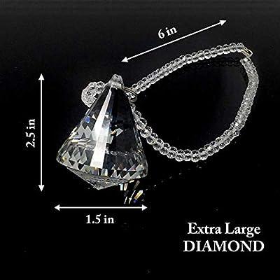 Bling Car Decor Diamond Rear View Mirror Charms, Facet K9 Crystal, Sun Catcher Hanging Ornament w/Beaded Chain, Car Chandelier, Bling Car Accessories, Home Decor Ornament (Diamond): Automotive