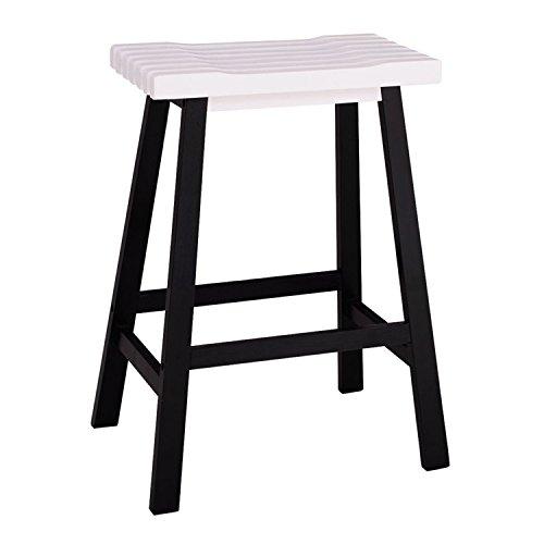 2pcs Pine Wood Saddle Seat Bar Stool Black & White by SHUTAO