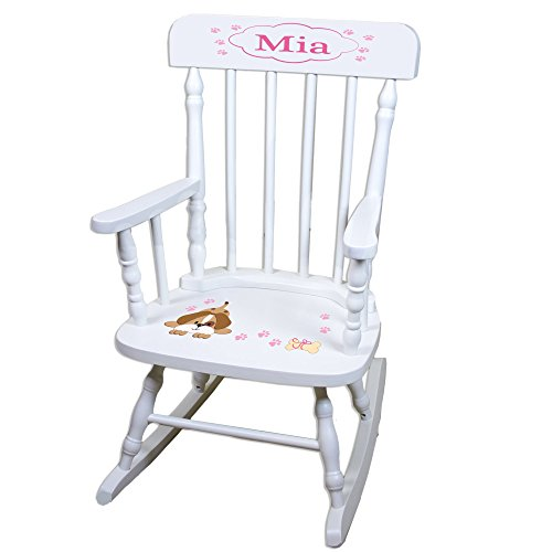 Personalized Pink Puppy White Childrens Rocking Chair by MyBambino (Image #1)