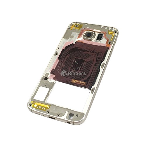Replacement Middle Chassis (Rinbers Rear Camera Panel Back Middle Frame Bezel Chassis Housing with Loud Speaker&Camera Lens Replacement Part for Samsung Galaxy S6 VI Edge Plus G928F G928A G928T Gold)