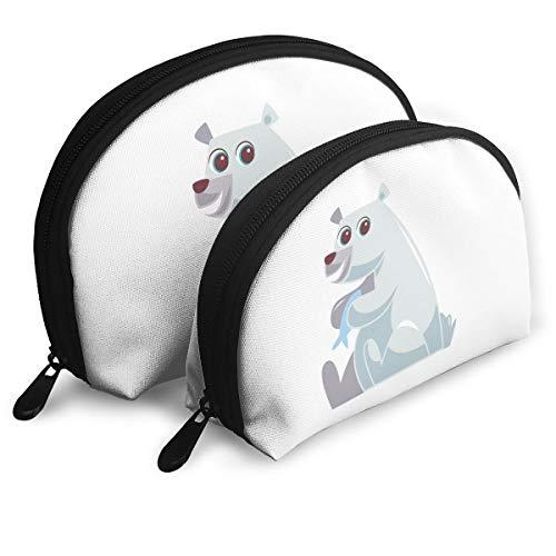 Makeup Bag Polar Bear Holding Fish Portable Shell Storage Bag For Girls Halloween Gift 2 Pack -