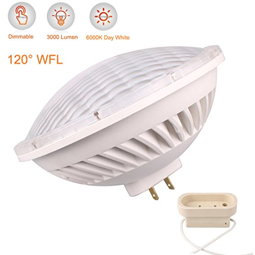 LeMeng Par56 LED Bulb Dimmable 28W 6000K Flood Light WFL 120°Beam Angle GX16D Base, Replace Par-56 300W Halogen Bulb (Cool Day White)