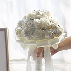 famibay Handmade Wedding Bridal Bouquet Wedding Holding Silk Rose Bouquet with Rhinestone Brooch Pearls Ribbon Tassel Decorative for Wedding Church Ivory 71