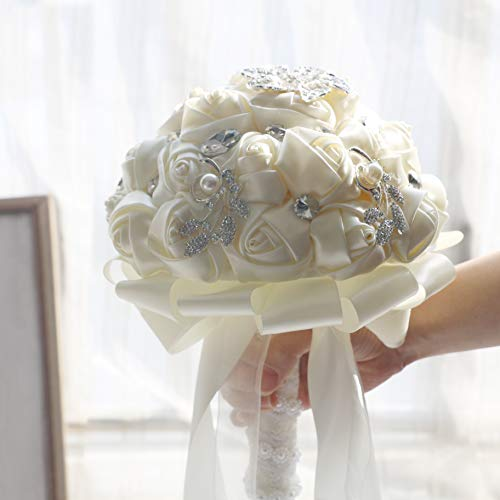 famibay Handmade Wedding Bridal Bouquet Wedding Holding Silk Rose Bouquet with Rhinestone Brooch Pearls Ribbon Tassel Decorative for Wedding Church Ivory (Silk Rose Bridal Bouquet)