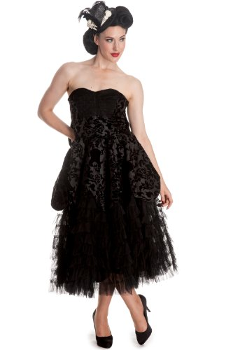 Hell-Bunny-Gothic-Wedding-Midnight-Ball-Black-Lace-Ruffled-Dress