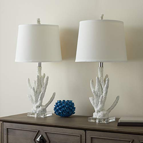 - Set of 2 - White Coral Table Lamp Ocean Reef Light Branch Coastal Design Nautical Lighting Tropical Decor Cottage Lodge Vacation Home Summer Indoor, Metal Resin 22.5