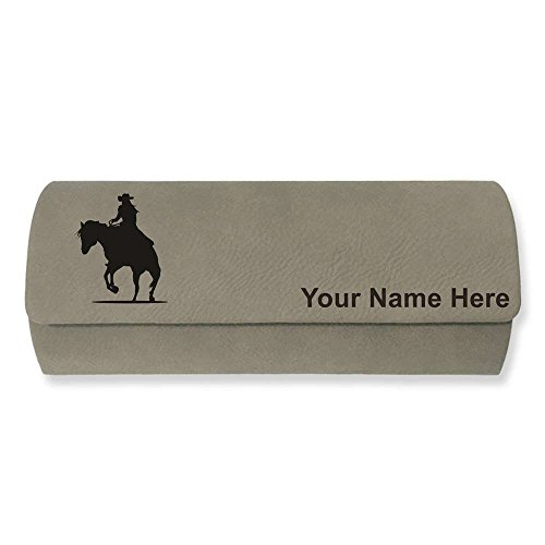 Eyeglass Case - Cowgirl Riding Horse - Personalized Engraving Included (Light - Sunglasses Horseback Riding