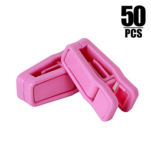 - KINJOEK 50PCS Plastic Finger Clips for Velvet Hanger Clothespins Strong Pinch Grip Clips Multi-Purpose for Slim-line Clothes Pants (Pink)