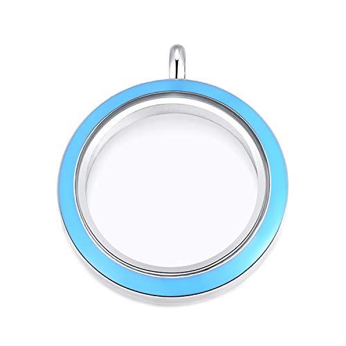 MESINYA Memorial Floating Charm Toughened Glass Locket Necklace W/Chain (30mm Twist Aqua Blue Surface)