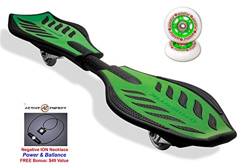Green Razor Ripstik Silver Caster Board Skate Board + Extra Set of Green Wheels & FREE Bonus: Active Energy Power & Balance Necklace $49 Free ( Several Colors Available)