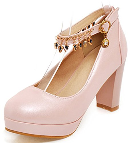 Idifu Womens Dressy Pendant High Chunky Tacco Cinturino Alla Caviglia Fibbia Piattaforma Pompe Scarpe Rosa