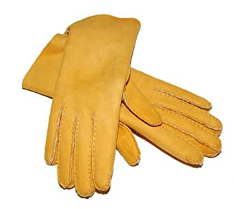 Polo Raph Lauren Purple Label Womens Suede Italy Leather Gloves Yellow Tan 6.5
