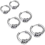 EXGOX Hoop Earrings for Women Men Girls, 3 Pairs Hypoallergenic Earring Endless Small Hoop Earrings Set