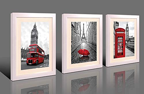 Yiijeah Black and White Paris Picture Wall Art City View Canvas Prints with Picture Frames London Paris Red Bus Umbrella Telephone Booth 3 Panels a Set Bedroom Living Room Office Wall Tabletop Decor (Best Restaurants In Paris With A View)
