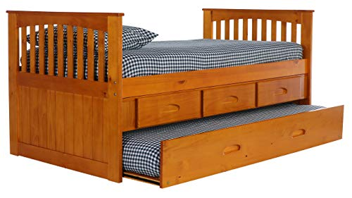 Trundle Honey - Discovery World Furniture Twin Rake Bed with 3 Drawers and Twin Trundle, Honey