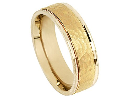 Men's 14k Yellow Gold Hammer Finish 7mm Comfort Fit Wedding Band Ring size 7.75