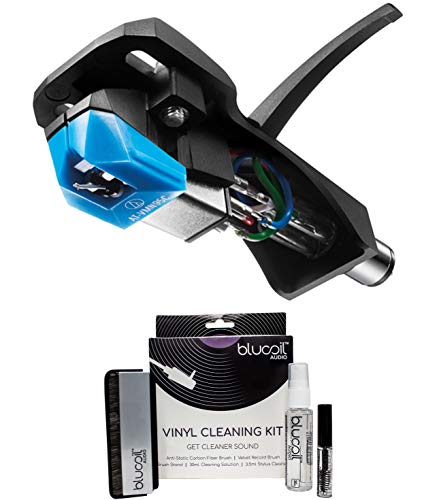 Audio Technica AT-VM95C/H Headshell/Cartridge Combo Kit: AT-VM95C Dual Moving Magnet Cartridge and AT-HS6BK Headshell Bundle with Blucoil 2-in-1 Vinyl Record and Turntable Cleaning Kit